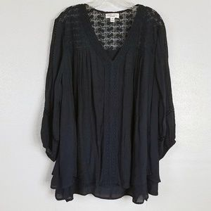 Plus Size JohnPaulRichard Crochet Hi Lo Blouse